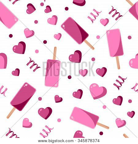 Seamless Patterns On A White Background In A Flat Style With Elements Of Ice Cream, Lolipops And Can