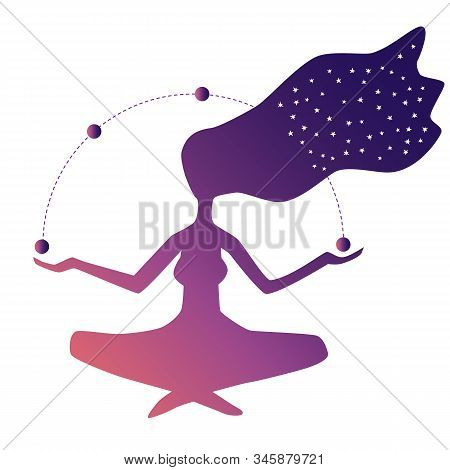 Silhouette Of A Woman Sitting In Lotus Position. Esoteric Concept. Woman Is Cosmos, Immersion In Inf