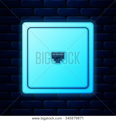 Glowing Neon Ethernet Socket Sign. Network Port - Cable Socket Icon Isolated On Brick Wall Backgroun