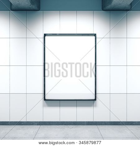 White Subway Station With Empty Poster On Wall.  Advertisement And Retail Concept. Mock Up, 3d Rende