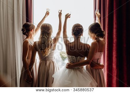 Bride With Bridesmaids Raised Glasses Rear View. Hugging Attractive Stylish Women Standing Together