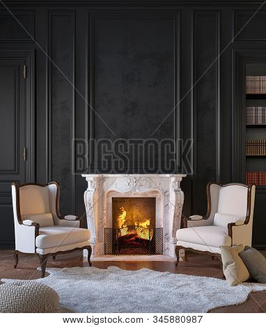Classic Black Interior With Fireplace, Armchairs, Moldings, Wall Pannel, Carpet, Fur. 3d Render Illu
