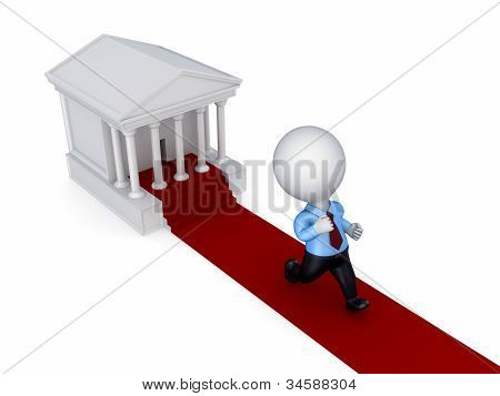 3d small person running from a courthouse.Isolated on white background. poster