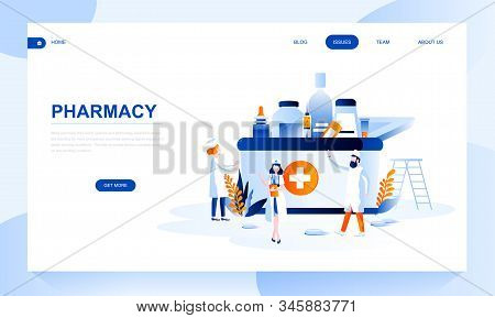 Pharmacy Vector Landing Page Template With Header. Apothecary Homepage Banner Design With Flat Illus