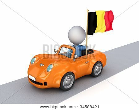3d small person on orange car with Belgian flag.