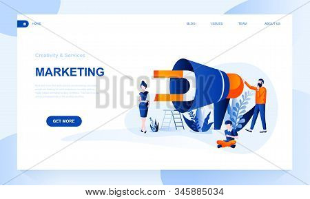 Marketing Vector Landing Page Template With Header. Product Promotion Web Banner, Homepage Design Wi