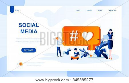 Social Media Vector Landing Page Template With Header. Account Promotion Web Banner, Homepage Design