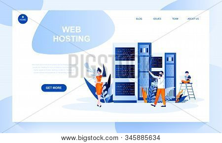 Web Hosting Vector Landing Page Template With Header. Website Banner, Homepage Design With Flat Illu