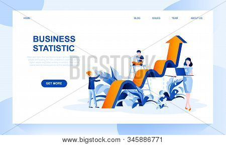 Business Statistics Vector Landing Page Template With Header. Financial Research Web Banner, Homepag