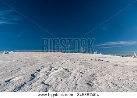 Krizava Hill With Communication Towers On Martinske Hole In Mala Fatra Mountains In Slovakia During