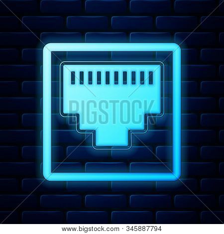 Glowing Neon Network Port - Cable Socket Icon Isolated On Brick Wall Background. Lan Port Icon. Ethe
