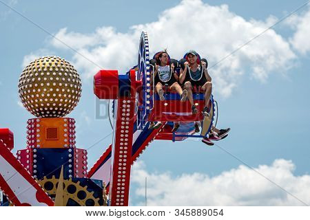 New York, Usa - June 22, 2019:  Attraction In The Luna Park Amusement Park At Coney Island In New Yo