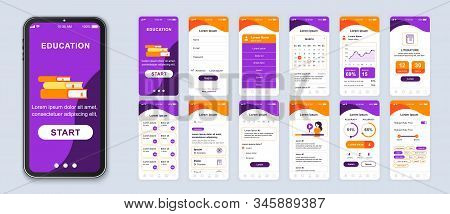 Education Mobile App Smartphone Interface Vector Templates Set. Online Courses Web Page Design Layou