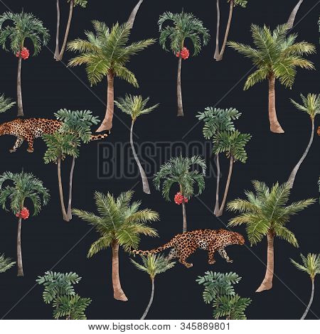 Beautiful Vector Seamless Pattern With Watercolor Hand Drawn Tropical Jungle Palms. Stock Illustrati