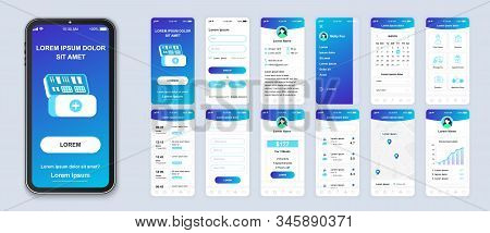 Medicine Smartphone Interface Vector Templates Set. Healthcare Mobile App Page Blue Design Layout. P