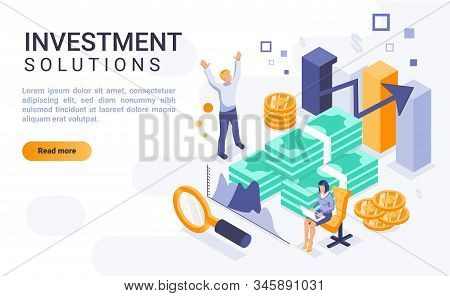 Investment Solutions Landing Page Vector Template With Isometric Illustration. Financial Management