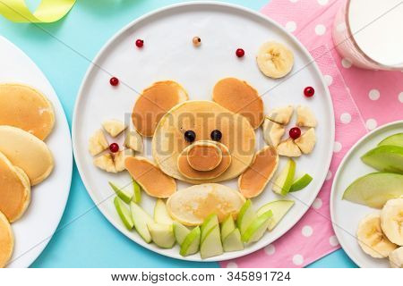 Funny Food For Kids. Bear Made Of Pancakes With Bananas And Apples.  Idea For A Baby Breakfast