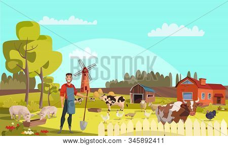 Farmer With Shovel Flat Vector Illustration. Summer Farm Landscape With Mill, Cattle, Poultry. Cows,