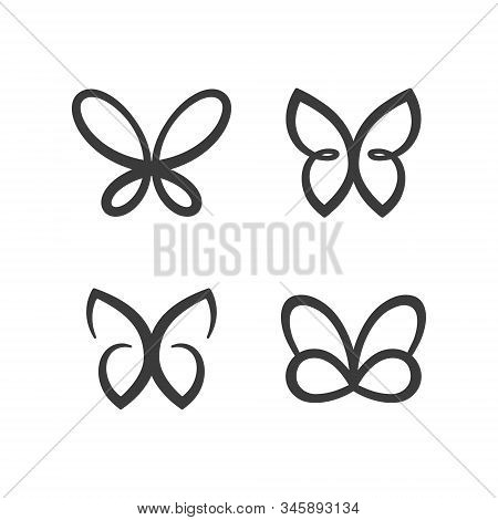 Butterfly Icon Set. Concept Logo Design Template Set Of Silhouette Of Butterfly, Vector Illustration