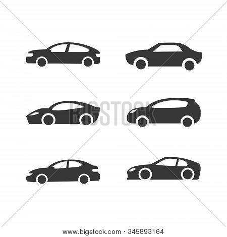 Car Vector Icons Set. Isolated Simple Front Logo Illustration. Sign Symbol. Auto Style Cars Logo Des