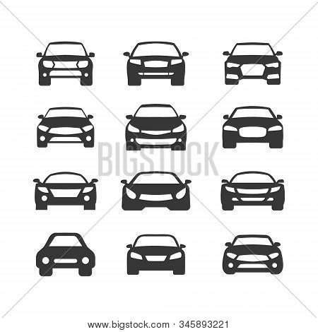 Car Vector Icons Set. Isolated Simple View Front Logo Illustration. Sign Symbol. Auto Style Car Logo