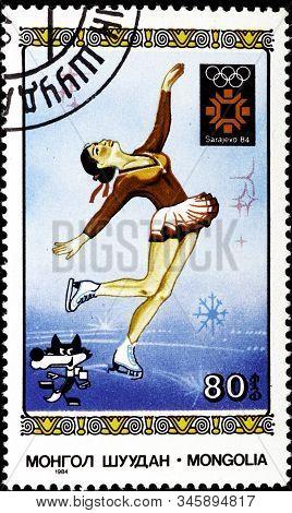 01 16 2020 Divnoe Stavropol Territory Russia Postage Stamp Mongolia 1984 Winter Olympic Games - Sara