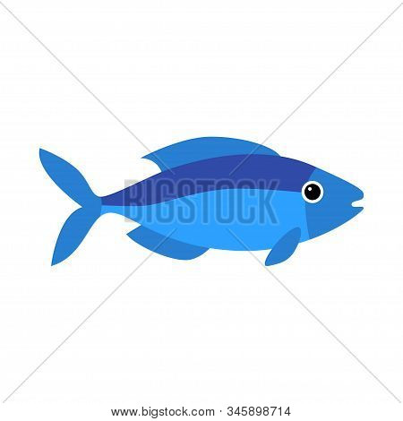 Vector Aquarium Fish Silhouette Illustration. Water Icon. Underwater Ocean Fauna. Colorful Cartoon F