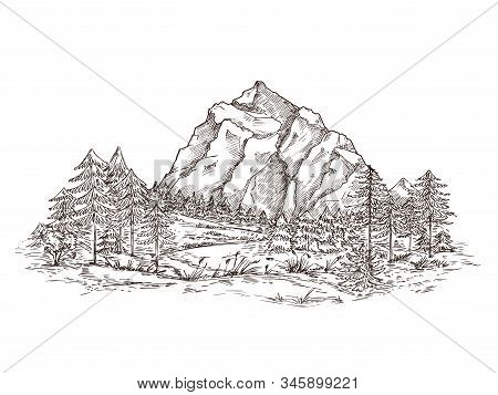 Mountain Landscape Sketch. Nature Doodle Drawing, Valley Panorama. Creative Drawing Hill, Forest And