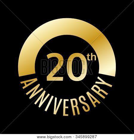 20 Years Anniversary Icon. 20th Celebrating And Birthday Golden Logo. Vector Illustration.