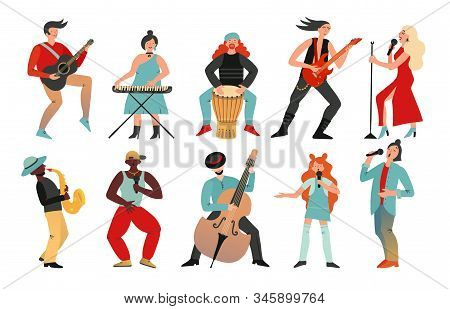 Musicians. Rock Band, Pop Musician. Music Instruments Guitarists Drummers, Singers Artists With Micr