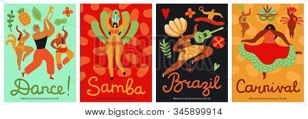 Brazil Carnival. Samba, Latin Trendy Party. Fashion Brazilian Dance Festival Abstract Flyers. Fun Mu