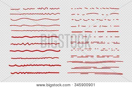 Sketch Underline. Red Scribble Stroke, Borders And Marks. Brush Ink Doodles For Diary, Bullet Journa