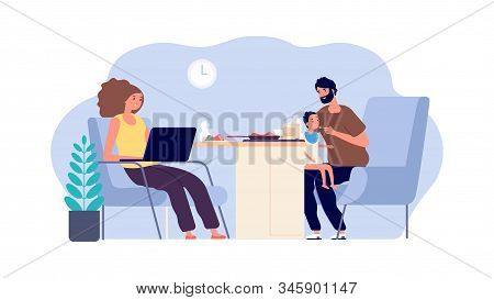 Family Together. Mother, Father And Baby. Dad With Little Son And Working Mom. Parenthood Vector Ill