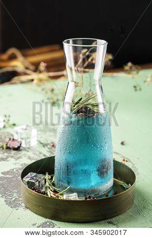 Tasty Limonade With Blue Curacao Liqueur. Cocktail