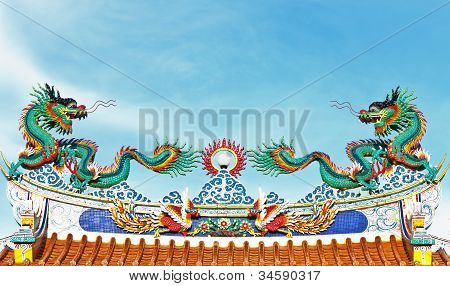 Double Dragon on the roof of the shrine door