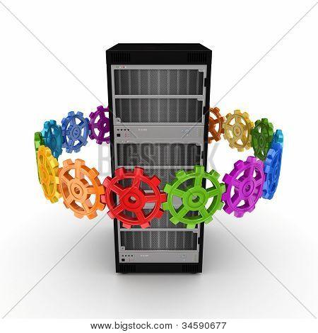 Colorful gears around server.