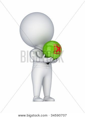 3d small person with a red cross mark in a hands.