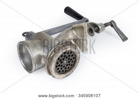 Old Hand-powered Meat Grinder Assembled For Use Lying On A White Background