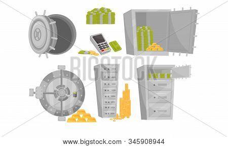 Monetary Objects Vector Set. Money Storage Concept.