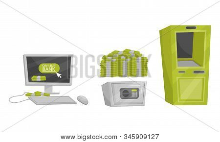 Monetary Objects Vector Set. Money Storage Concept