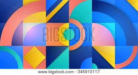Trending Background In Cubism Style. Illustration With Abstract Figures. Circles, Rhombuses, Squares