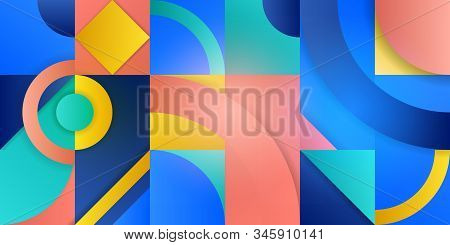 Illustration With Abstract Figures. Geometric Shapes In Squares With A Gradient. Trending Background