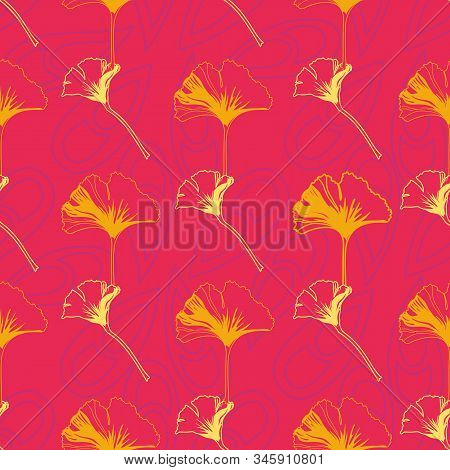 Vector Seamless Pattern Ginko Wax With Yellow And Orange Ginkgo Leaves