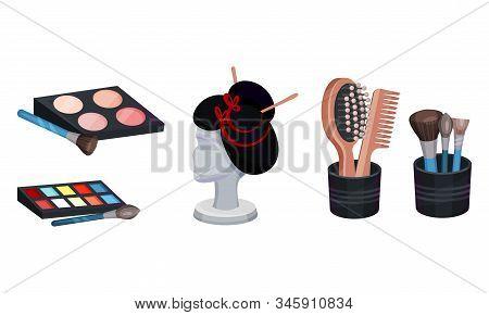 Actress Dressing Or Makeup Room Attributes Vector Set