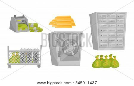 Monetary Objects Vector Set. Banking Money Storage Concept