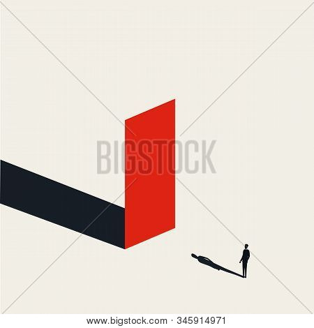 Business Obstacle Or Challenge Vector Concept With Businessman In Front Of The Wall. Symbol Of Overc