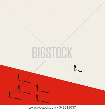 Business Leader Vector Concept With Businessman Walking Forward From Group. Symbol Of Leadership, Vi