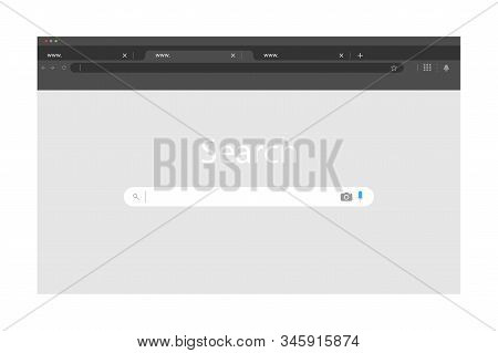 Browser Window In Modern Simple Flat Design. Empty Internet Page. Browser Window, Isolated On White