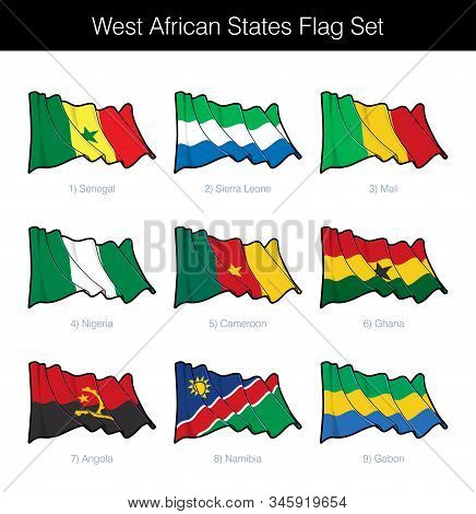 West African States Waving Flag Set. The Set Includes The Flags Of Senegal, Sierra Leone, Mali, Nige