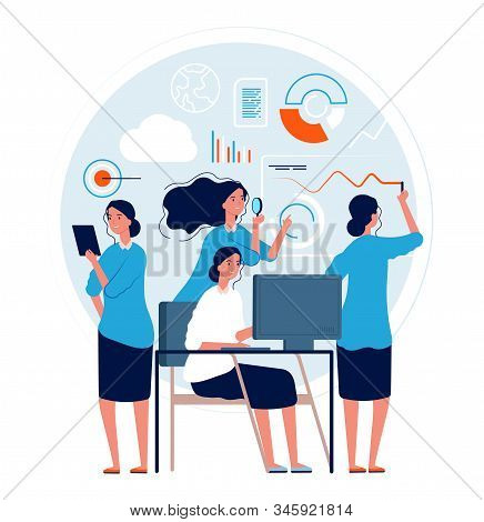 Woman Multitask. Business Lady Action Poses Making Many Projects Tasks Management Processes Good Wor
